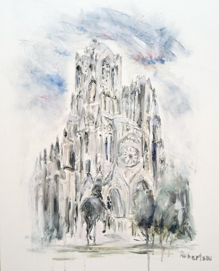 'Notre Dame, Paris West Facade' is a medium size Impressionist mixed media on canvas figurative painting created by American artist Sarah Robertson in 2020. Featuring an exquisite Notre Dame scene in Paris, the painting depicts a view of Notre Dame