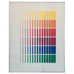 Sarah Russell Abstract Lithograph in Green, Blue, Yellow, Red, Orange and Purple