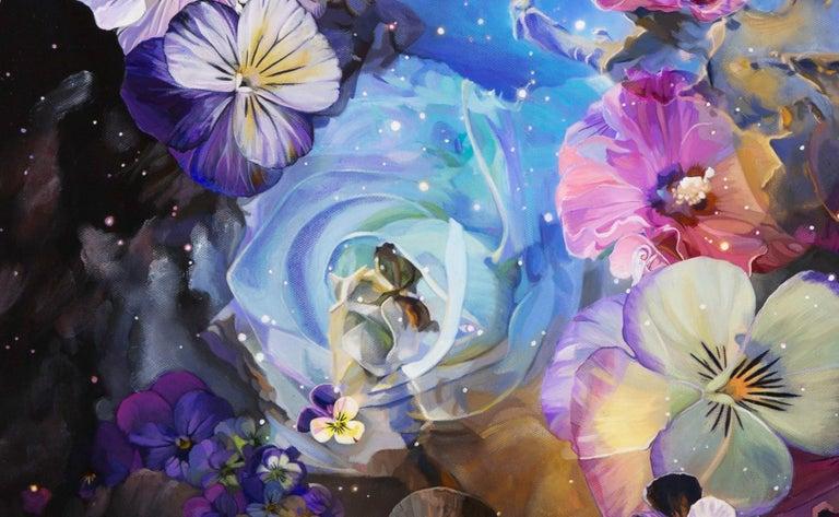 Flower Nebula - Black Figurative Painting by Sarah Warren