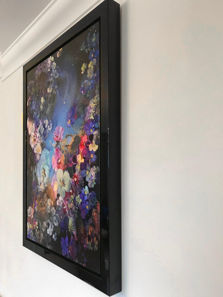 The inspiration behind this stunning artwork was to use flowers as stars in a Flower Nebula, painted with fluid acrylics on canvas  Sarah Warren was invited by the British Government to represent the UK in the Emirates during an International