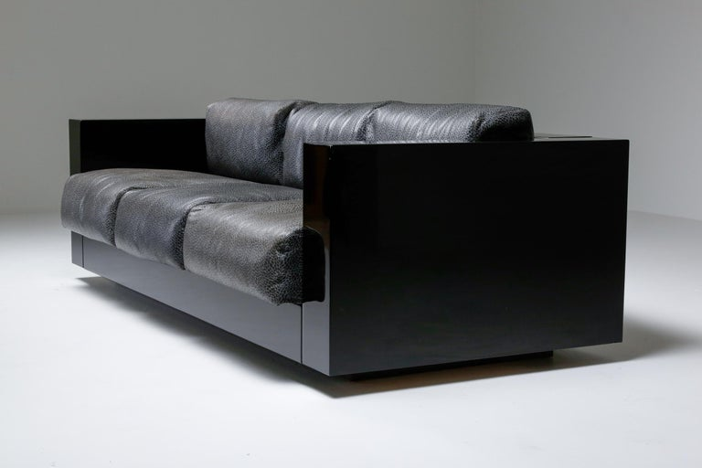 Saratoga Sofa in Elephant Grey Leather by Vignelli for Poltronova, Italy, 1964 For Sale 5