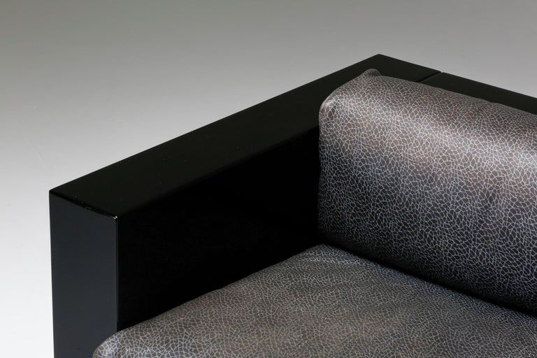 Saratoga Sofa in Elephant Grey Leather by Vignelli for Poltronova, Italy, 1964 For Sale 6