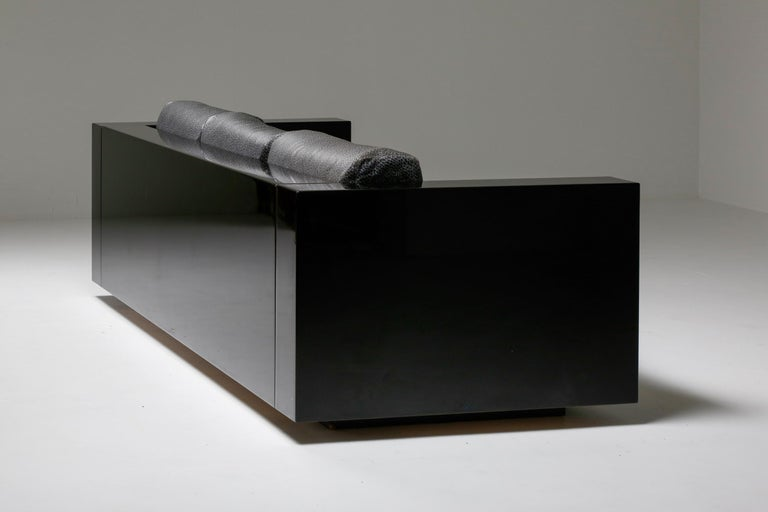 Saratoga Sofa in Elephant Grey Leather by Vignelli for Poltronova, Italy, 1964 For Sale 7