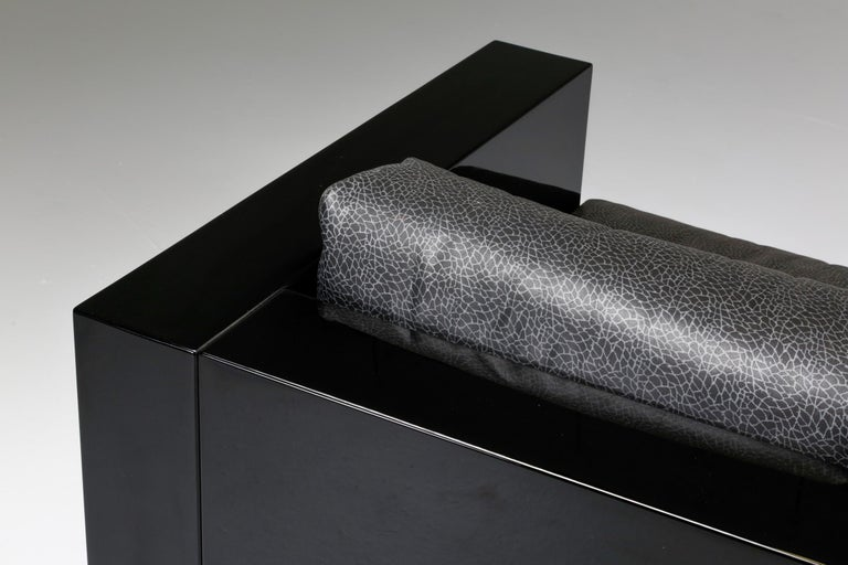 Saratoga Sofa in Elephant Grey Leather by Vignelli for Poltronova, Italy, 1964 For Sale 8