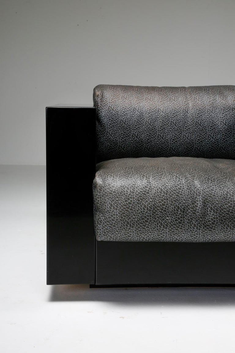 Saratoga Sofa in Elephant Grey Leather by Vignelli for Poltronova, Italy, 1964 For Sale 11
