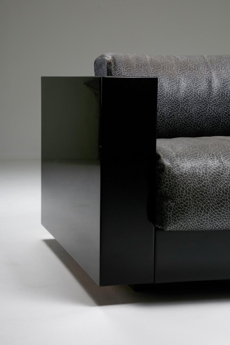 Saratoga Sofa in Elephant Grey Leather by Vignelli for Poltronova, Italy, 1964 For Sale 12