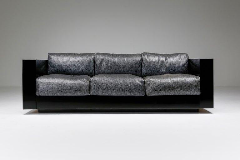 Massimo and Lella Vignelli for Poltronova, 'Saratoga' three-seat sofa, polyester lacquer and elephant grey leather, Italy, 1964   This three-seat sofa named 'Saratoga' is designed by Italian designer couple Lella & Massimo Vignelli. The Vignelli's