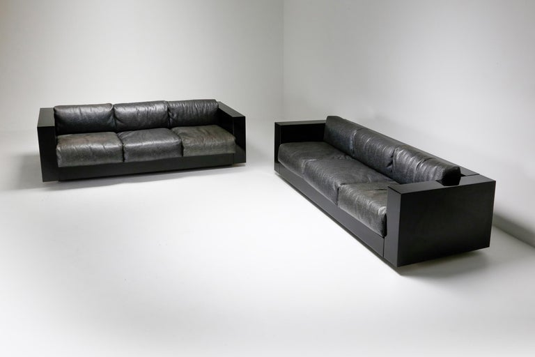 Saratoga Sofa in Elephant Grey Leather by Vignelli for Poltronova, Italy, 1964 For Sale 14
