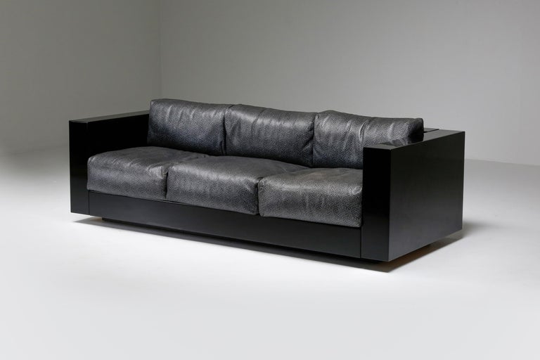 Minimalist Saratoga Sofa in Elephant Grey Leather by Vignelli for Poltronova, Italy, 1964 For Sale
