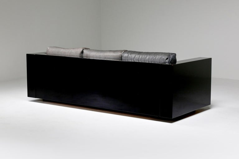 Italian Saratoga Sofa in Elephant Grey Leather by Vignelli for Poltronova, Italy, 1964 For Sale