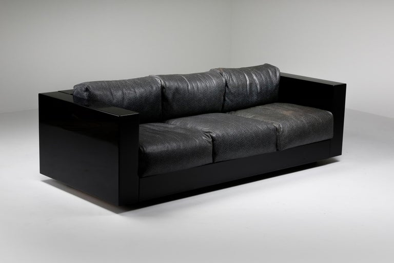 Saratoga Sofa in Elephant Grey Leather by Vignelli for Poltronova, Italy, 1964 In Good Condition For Sale In Antwerp, BE