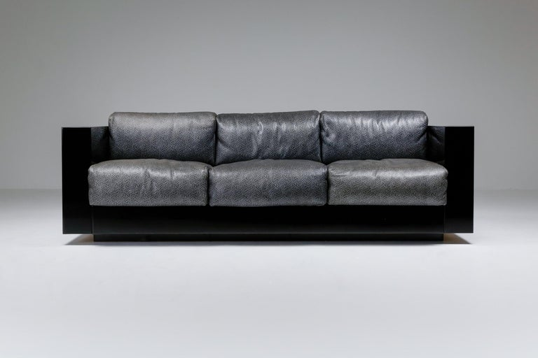 Saratoga Sofa in Elephant Grey Leather by Vignelli for Poltronova, Italy, 1964 For Sale 2