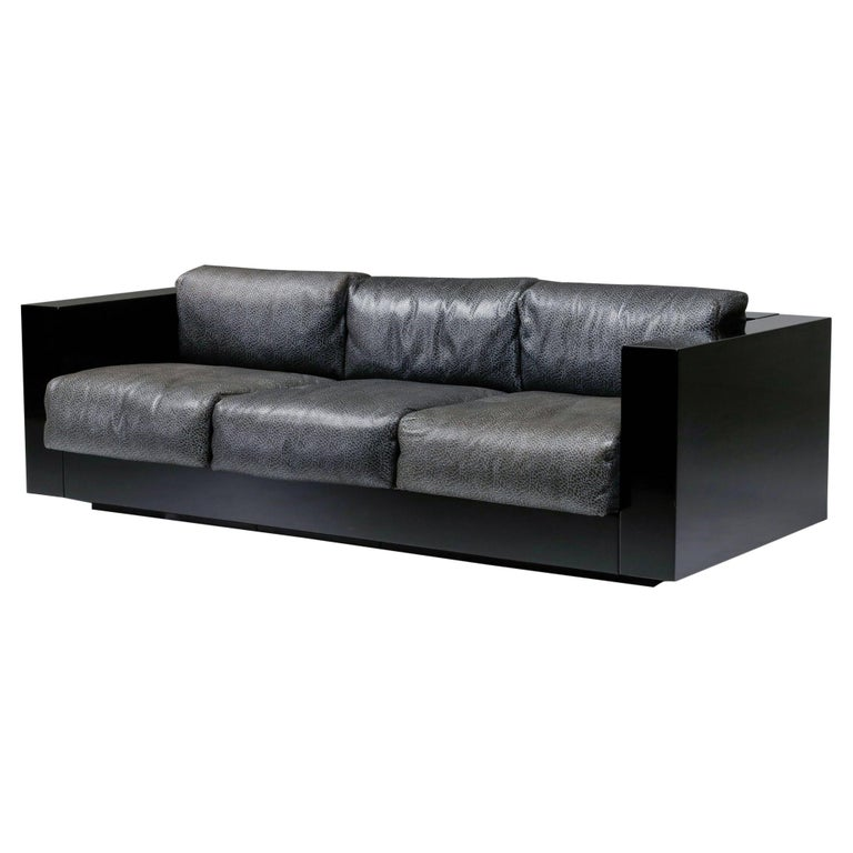 Saratoga Sofa in Elephant Grey Leather by Vignelli for Poltronova, Italy, 1964 For Sale
