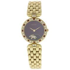 Sarcar Geneve 18 Karat Yellow Gold Diamonds and Rubies Watch
