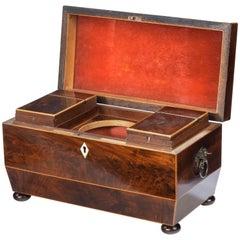Sarcophagus Shaped George III Period Mahogany Tea Caddy