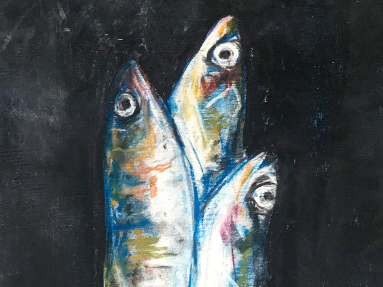 Sardine Colazione fish painting. Contemporary blue white and green on black gesso painting on wood panel of breakfast sardines, Italy, 2019. 