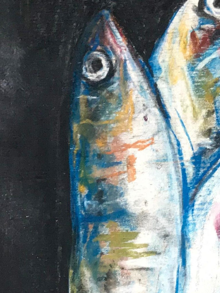 Italian Sardine Colazione Fish Painting For Sale
