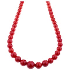 Sardinian Red Coral Bead Long Necklace 18 Karat Gold Clasp