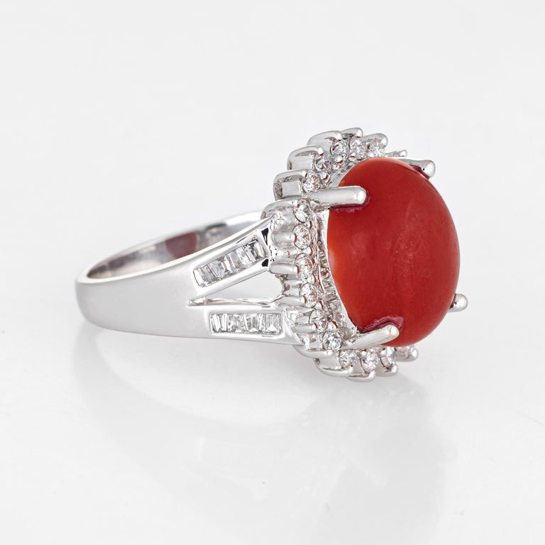Modern Sardinian Red Coral Diamond Ring Estate 18k White Gold Princess Style Jewelry For Sale