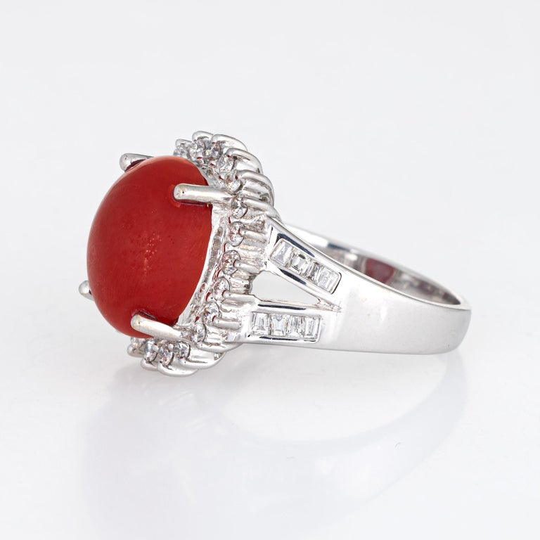 Cabochon Sardinian Red Coral Diamond Ring Estate 18k White Gold Princess Style Jewelry For Sale