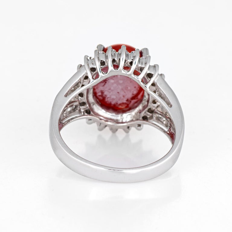 Sardinian Red Coral Diamond Ring Estate 18k White Gold Princess Style Jewelry In Good Condition For Sale In Torrance, CA