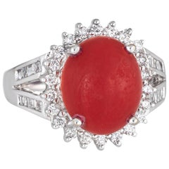 Sardinian Red Coral Diamond Ring Estate 18k White Gold Princess Style Jewelry