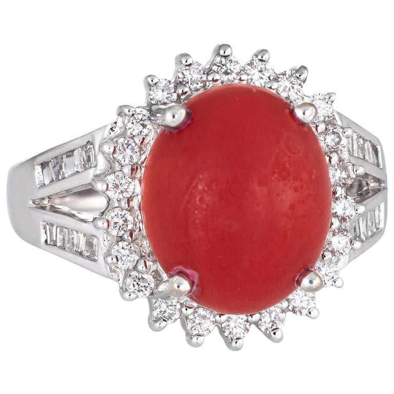 Sardinian Red Coral Diamond Ring Estate 18k White Gold Princess Style Jewelry For Sale