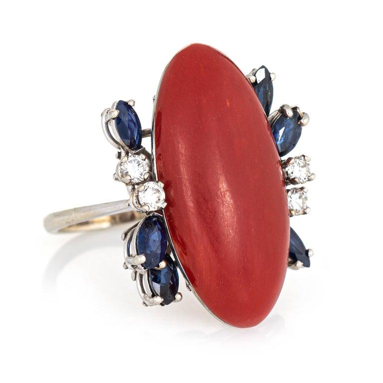 Modern Sardinian Red Coral Sapphire Diamond Ring Vintage 18 Karat Gold Fine Cocktail For Sale