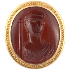 Sardonyx Intaglio with Costantino the Great Late 18th Century Ring
