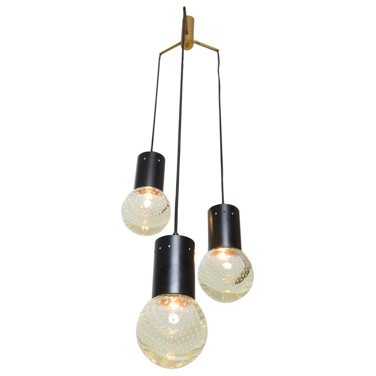 Sarfatti Chandelier for Seguso with Three Globes, circa 1960 For Sale