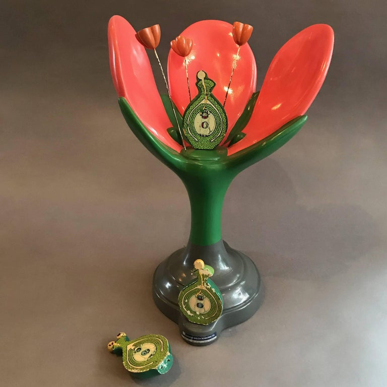 Painted resin composite, scientific, educational, botanical model of a dicotyledon flower with removable parts.