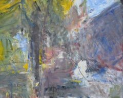 The Viale, Casole by Sargy Mann - Gouache & Pencil on canvas