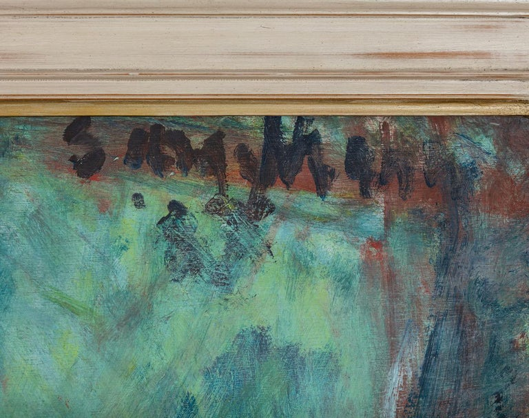 Sargy Mann (1937-2015) Studio with standard lamp Signed, upper right Inscribed with title to the reverse Oil on board 48 x 60 inches  Provenance: Cadogan Contemporary                      Private Collection  Exhibited: Sargy Mann and Graham Giles,