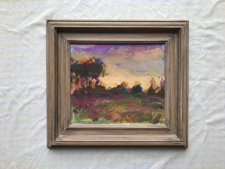 Sargy Mann, Sunset Abthorpe, impressionist landscape - Impressionist Painting by Sargy Mann