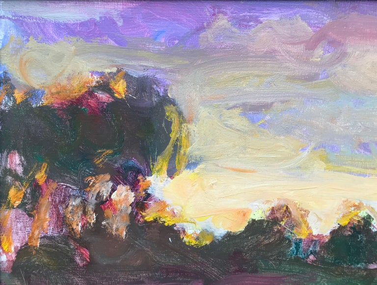 Sargy Mann, Sunset Abthorpe, impressionist landscape - Brown Landscape Painting by Sargy Mann