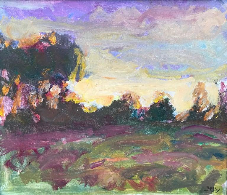 Sargy Mann, Sunset Abthorpe, impressionist landscape 1