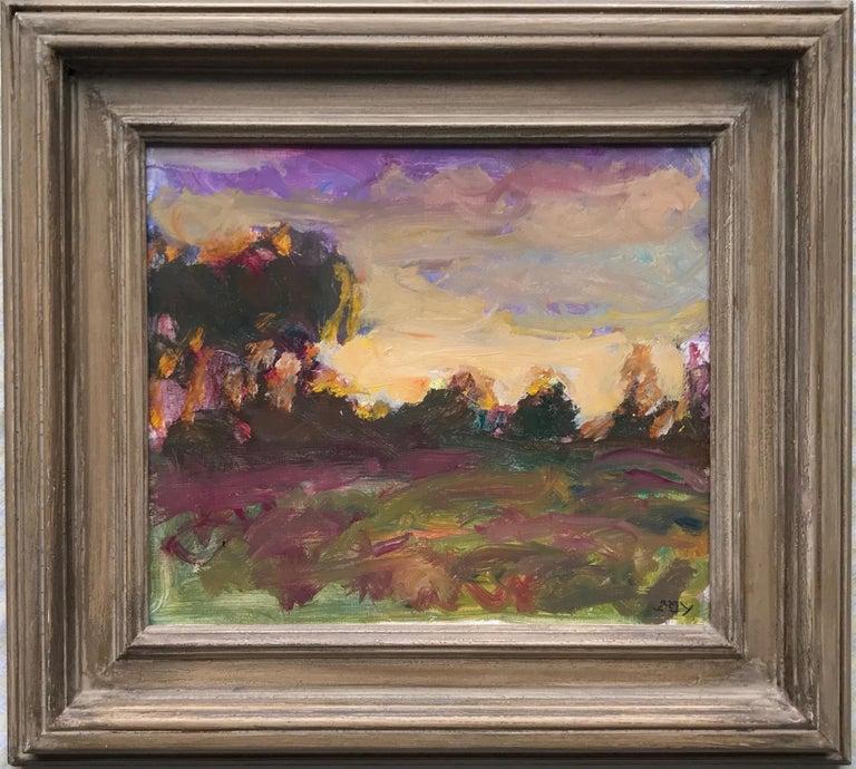 Sargy Mann, Sunset Abthorpe, impressionist landscape - Painting by Sargy Mann