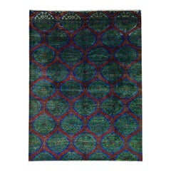 Sari Silk Multicolored Moughal Design Hand Knotted Rug
