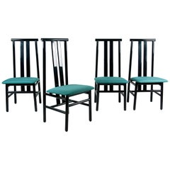 Sarian 'Zea' Modern High-Backed Black Lacquered Chairs for Tisettanta, Italy