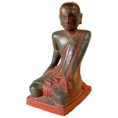 Sariputra Disciple of Buddha Burma Myanmar Rare Bronze Red Lacquer and Gold art