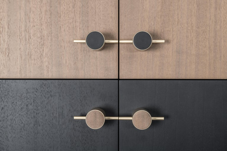 Italian Sarita 2 Colors Luxury Cabinet Metal Structure, Jewel Handles & 2 Wooden Compart For Sale