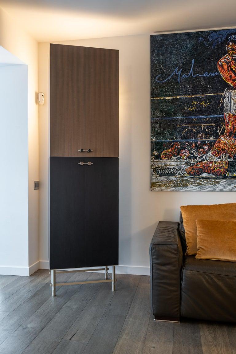 Sarita 2 Colors Luxury Cabinet Metal Structure, Jewel Handles & 2 Wooden Compart For Sale 2
