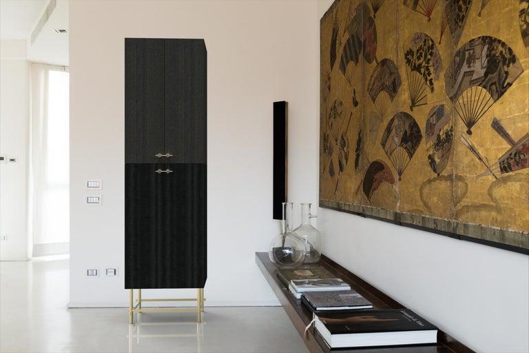 Sarita 2 Colors Luxury Cabinet Metal Structure, Jewel Handles & 2 Wooden Compart For Sale 3