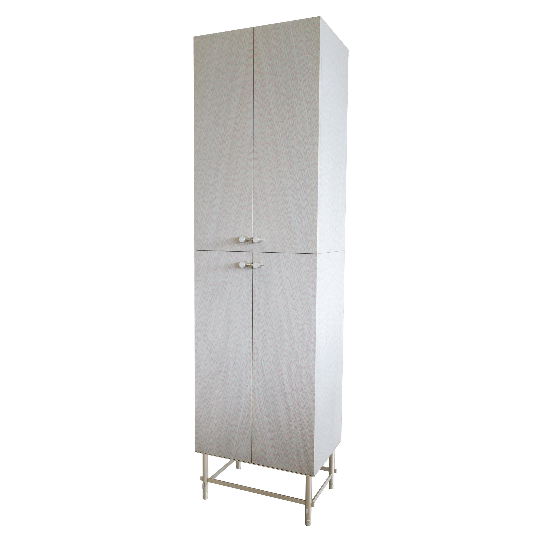 Sarita Luxury Cabinet Metal Structure, Jewel Handles & Wooden Two Fabric Effect