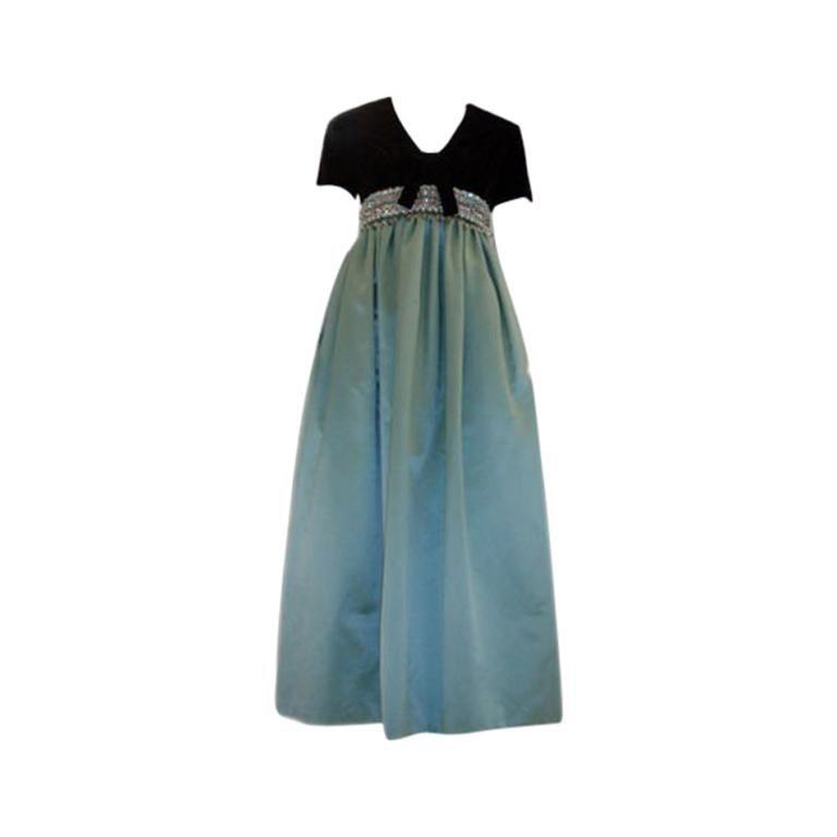 4f7d7e48a209 Sarmi Chocolate Velvet & Aqua Duchess Satin Jewelled Empire Waist Gown, ...