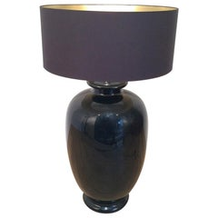 Saronno Italy, Important Black Enameled Ceramic Lamp, Signed, circa 1960
