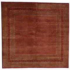 Sarouk Mir Wide Orange Vintage Overdyed Square Oriental Rug