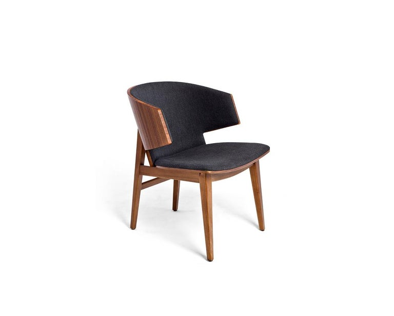 Sarr is a cozy state of the chair; with an solid walnut/oak body and cashmere/leather upholstery this chair provides maximum comfort. Dining chair, Office chair