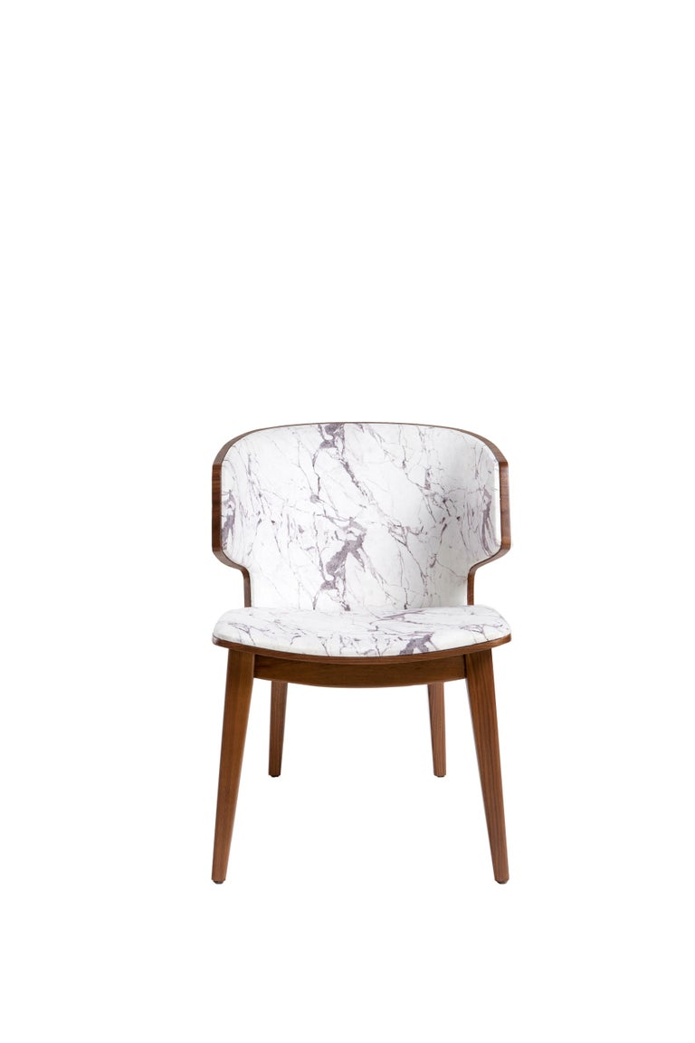 Leather Sarr, Mid-Century Modern Style Wooden Chair, Dining Chair, Office Chair For Sale