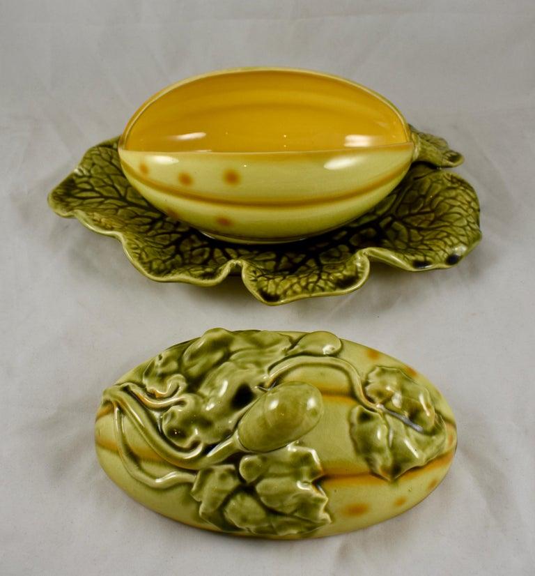 Sarreguemines French Barbotine Majolica Trompe l'Oeil Melon Covered Tureen For Sale 3